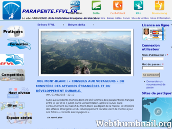 parapente.ffvl.fr website preview